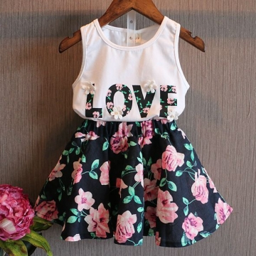2017 New Arrival Cute Kid Girls Dress Baby Sleeveless T-shirt Top Floral Lace Dress Suit Outfit 2pcs white 100cm