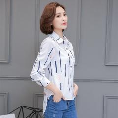2017 Spring Women Blouses Fashion Striped Print Shirt Chiffon Ladies Office Shirt Work Causal Tops white s