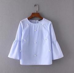 2017 Women Vintage Flare Sleeve Beading Decoration Blouses Shirts pullover Feminine Blusas Tops sky blue s