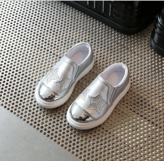 2017 New fashion children's sports shoes girls lovely stars casual shoes flat shoes silver uk9