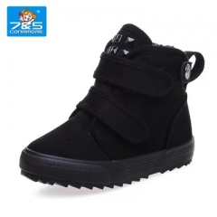 Warm children Snow Boots girl and boy water-proof plush Boots outdoor Thickened baby cotton shoes black uk6