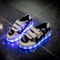 Kids Glowing Luminous Sneakers For Girls USB Charging Basket Led Toddler Children Shoes With Light black uk6