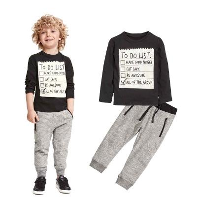 2017 New Winter and Autumn Dark Grey long sleeve t-shirt + casual long pants 2pcs suit kids clothes black 100cm