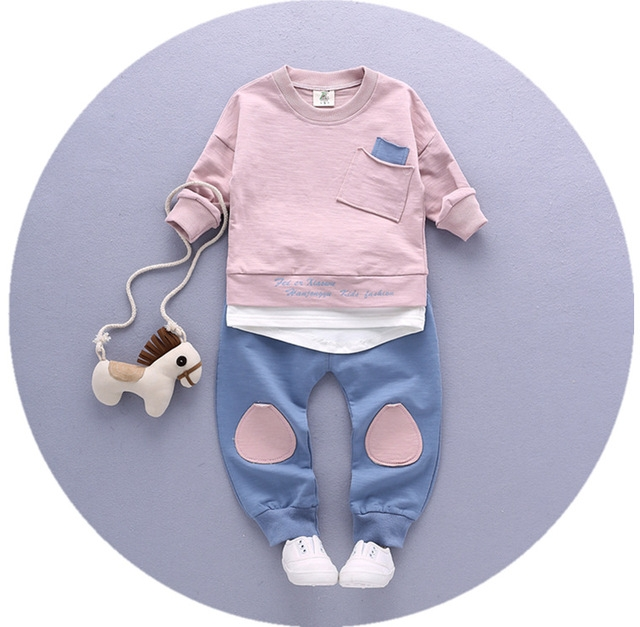 2017 Spring Autumn Cotton Boys Tops And Tees Long Sleeve T Shirt +pants 2pc/set ,kids Clothes pink 80cm