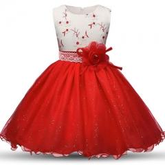 Summer Flower Dress Girl Princess Costume Dresses Girl Party Wear Tulle Kids Children Prom Dress red 110cm
