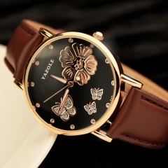 2017 Fashion Yazole Butterfly Flower Bling Genuine Leather Quartz Wedding Wristwatches Wrist brown