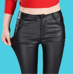 Autumn women leather pants High Waisted elastic shiny trousers slim female pencil leather pants black s