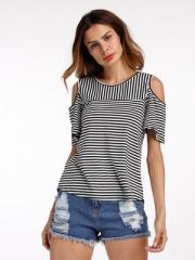 Cold Shoulder T Shirt Women Tops Back Split O-Neck Striped Top Tees Female Short Sleeve T-Shirts black s