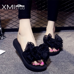 Summer Women cool Non-slip Slippers Classical Bow Sandals Outside Slides 3CM Low Heels Slippers black uk2.5
