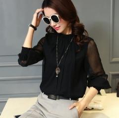 Summer Lace Chiffon Shirt Plus Size Blouse Fashion Stand Neck Shirts Transparent Long Sleeve Blouses black s