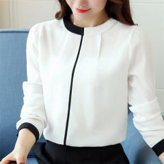 Blouse shirt New Autumn long sleeved chiffon blouse Elegant Slim Office lady shirt Fashion white s