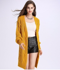 2017 Women Long Cardigans Winter Open Poncho Knitting Sweater Cardigans V neck Oversized Jacket Coat yellow one size