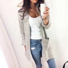 Fashion Women Long Sleeve loose knitting cardigan sweater Womens Knitted Female Cardigan pull femme grey s