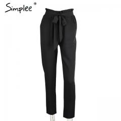 2017 New trousers OL chiffon high waist harem pants Women stringyselvedge summer style casual pants black s