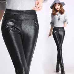 2017 Winter warm women faux leather pants & capris PU botton Snakeskin elastic high waist stretch black s