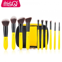 10 Pcs/Set Makeup Brush Yellow Make-up Brushes Powder Eye Shadow Blending Foundation Cosmetic Tool as picture