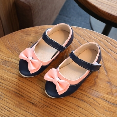 2017 Korean version of the new soft bottom shoes bow Dichotomanthes bottom girl princess shoes black uk5.5