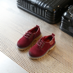 Children Shoes Boys Retro Shoes Children Sneakers kids Nubuck Leather Martin Shoes Girls Sneakers wine red uk5.5
