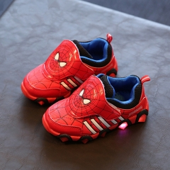 Children Shoes Led Boys Sneakers Autumn Winter Spiderman Flasher Fashion Sports Kids Shoes red uk9