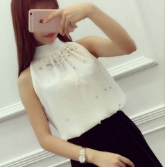 2017 Women Beading Chiffon Blouse Korean Fashion Sleeveless Women Turtleneck Chiffon Blouse Shirt white s