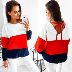 2017 Casual Tops long sleeved O-collar Three-color Patchwork Blouse back V collar Ribbon sweatshirt red s