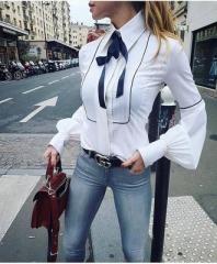 Hot Office Bow Tie Blouses Women Lantern Sleeve White Tunic Button Down Shirts Female Elegant Top white s