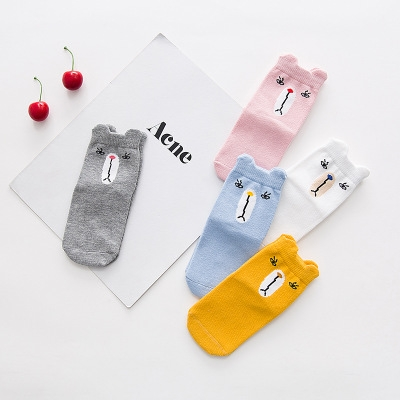 5 Pair/lot Kawaii Pattern Cotton Kids Socks Baby Breathable Boys Girls Socks For Children Sock 1 S