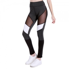 Hot Women Fitness Leggings Color Block Autumn Winter Workout Pants New Arrival Mesh Insert Leggings black s
