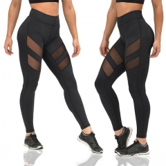 Women's Leggings Fashion Mesh Patchwork Leggings Female Elastic Fashion Workout fitness Leggings black s