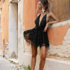 2017 Sexy dresses women Backless halter Black Gold mini dress party tassel Summer dress club wear black s
