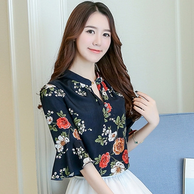 92461871bb0dc Blouse Women Tops Floral Print Shirts Elegant Three Quarter Flare Sleeves  Chiffon Blusas Femininas black 3xl  Product No  290129. Item specifics   Brand