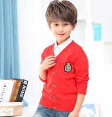 2017 Children Clothes Baby Cardigan Boy Cotton Solid Long Sleeve Sweaters Kids Causal Knitted Tops red 110cm