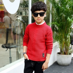 2017 Autumn Winter Boys Sweaters Children Warm O-Neck Wool Sweaters Boy Pullover Kids clothing red 120cm