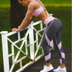 2017 Hot sale patchwork heart hip leggings sportswear for women bodybuilding grey slim sexy legging pink s