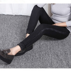 2017 Winter High Elastic Women Pants Cashmere Velvet Thicken Leggings Warm Thick Female Trousers black 3xl