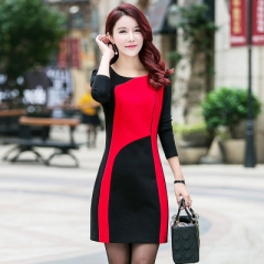new cultivate one's morality show thin large size ladies splicing dress female qiu dong render skirt red l