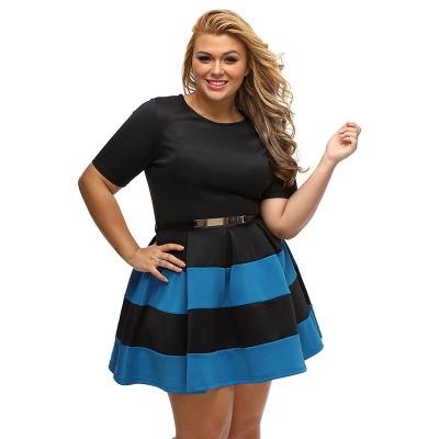74f0d6e035 Casual Autumn Short Sleeve Apricot Stripes Detail Belted Plus Size Skater  Dress Vestido blue l  Product No  294801. Item specifics  Seller SKU h475   Brand