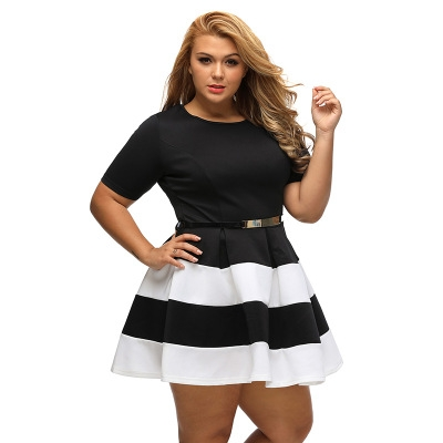 be0b85b92b Casual Autumn Short Sleeve Apricot Stripes Detail Belted Plus Size Skater  Dress Vestido white xl  Product No  294806. Item specifics  Seller  SKU h475  Brand ...