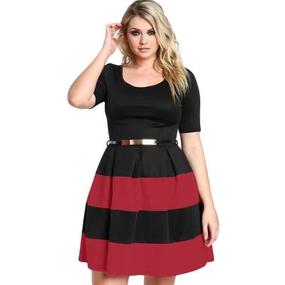 25f5e5c408 Casual Autumn Short Sleeve Apricot Stripes Detail Belted Plus Size Skater  Dress Vestido red 2xl  Product No  294811. Item specifics  Seller SKU h475   Brand