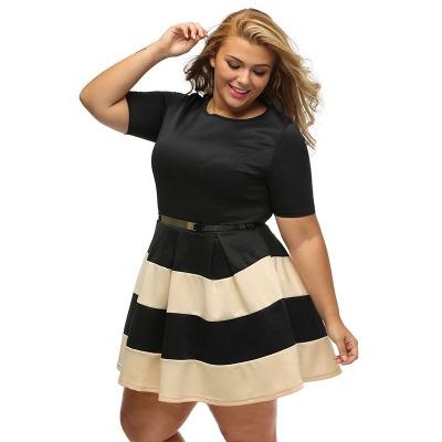de679ac025 Casual Autumn Short Sleeve Apricot Stripes Detail Belted Plus Size Skater  Dress Vestido hkaki 2xl  Product No  294815. Item specifics  Seller  SKU h475 ...