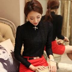 Hot Women Clothing fashion Blusas Femininas Blouses & Shirts Fleece Women Crochet Blouse Lace Shirt black s