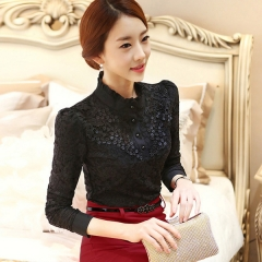 Autumn Women Long Sleeve Fashion Lace Floral Patchwork Chiffon Blouse Shirts Casual Slim Tops Blusas black s