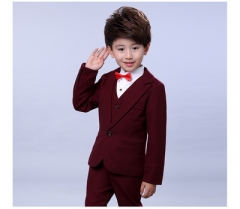 5 pcs/set Wedding Suits for Boy Formal Dress Suit Boys wedding suit Kid Tuxedos Page boy Outfits red 90cm