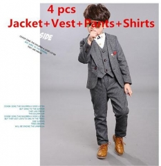 Fashion boys kids 4PCS blazers boy suit for weddings prom formal spring autumn wedding boy suits grey 100cm