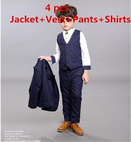80315800e377 Fashion boys kids 4PCS blazers boy suit for weddings prom formal ...
