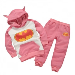 Toddler Boy Clothing Sets Winter Children Batman Hoodie+Pants Outfit Christmas Costume Kids Clothes pink 90cm