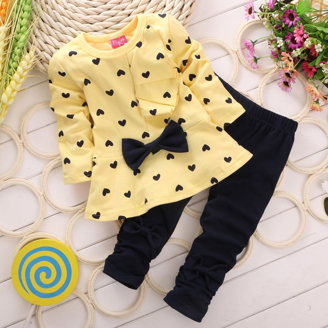 Hot autumn girls clothes sets T-shirt+ Pants 2pcs/set full sleeve clothing children active suits yeloow 90cm