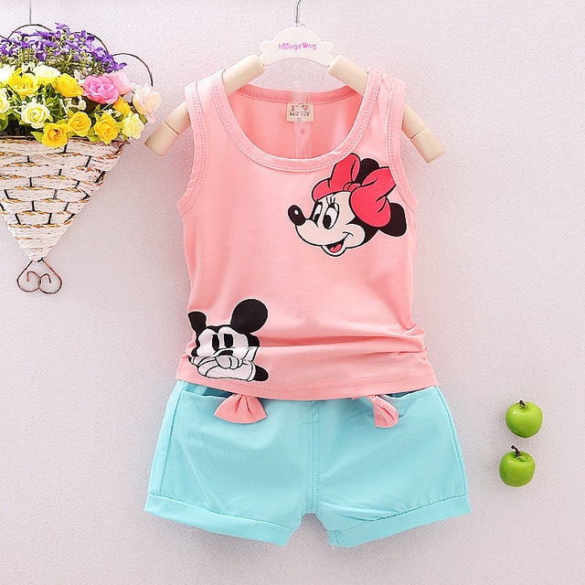 Summer Cute Cartoon Kids Baby Girls Floral Vest Top Shorts Pants Set Clothes Girls Clothing Sets pink 80cm