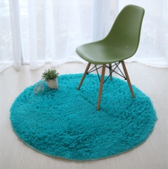 Fluffy Round Foam Rug Non Slip Shower Bedroom Carpet Yoga Fitness Mat for Adults and Children blue 40cm