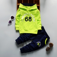 Autumn Baby Clothing Sets Children Boys Girls Clothes Kids Hooded T-shirt And Pants 2 Pcs Suits green 80cm